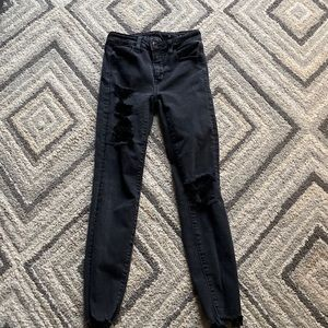 american eagle black worn ripped jeans size 0